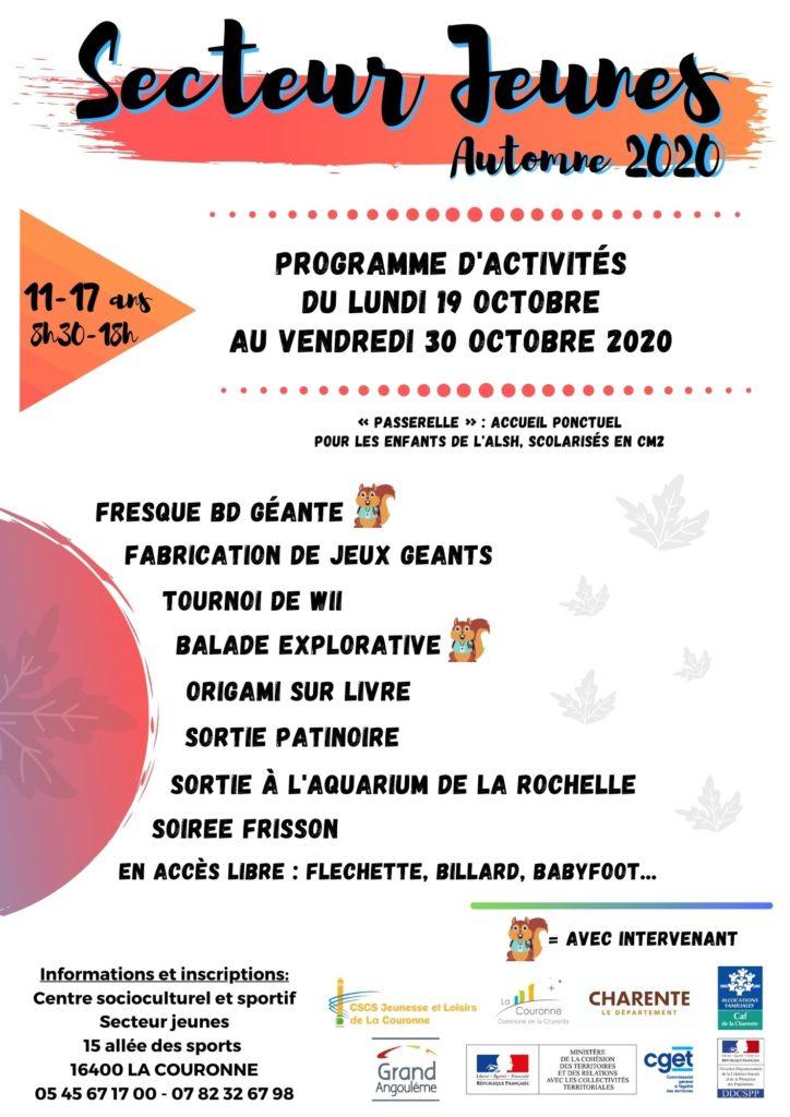 SECTEUR JEUNES AUTOMNE 2020 - affiche