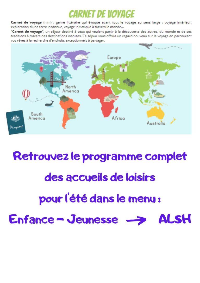 Retrouvez le programme complet des accueils de loisirs pour l'été dans le menu Enfance - Jeunesse ALSH